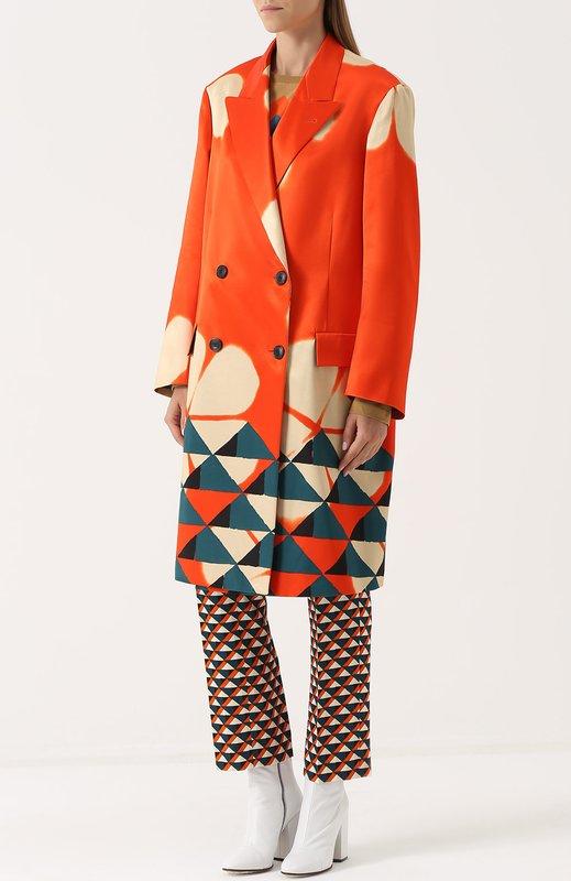 Geometrische oversized oranje jas met dubbele rij knopen