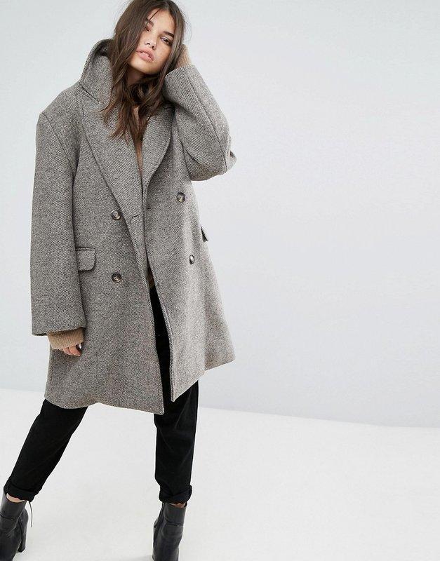 Grijze oversized jas, gemiddelde lengte