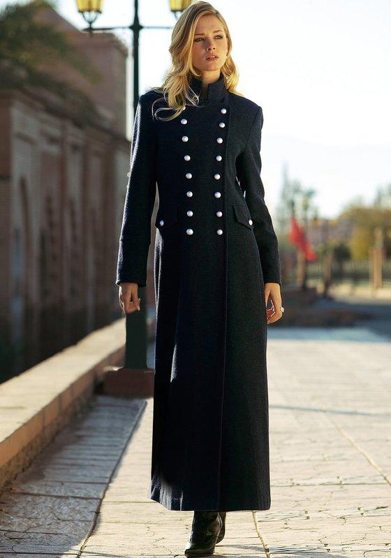 Zwarte tweed overjas