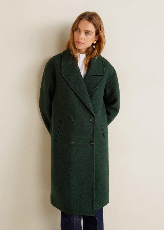 Oversized groene jas met dubbele rij knopen