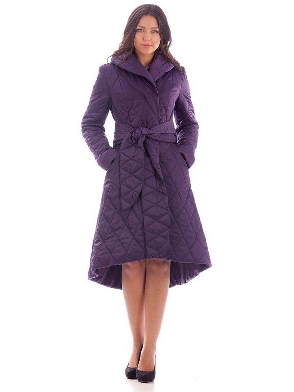Violette gewatteerde jas met asymmetrische zoom