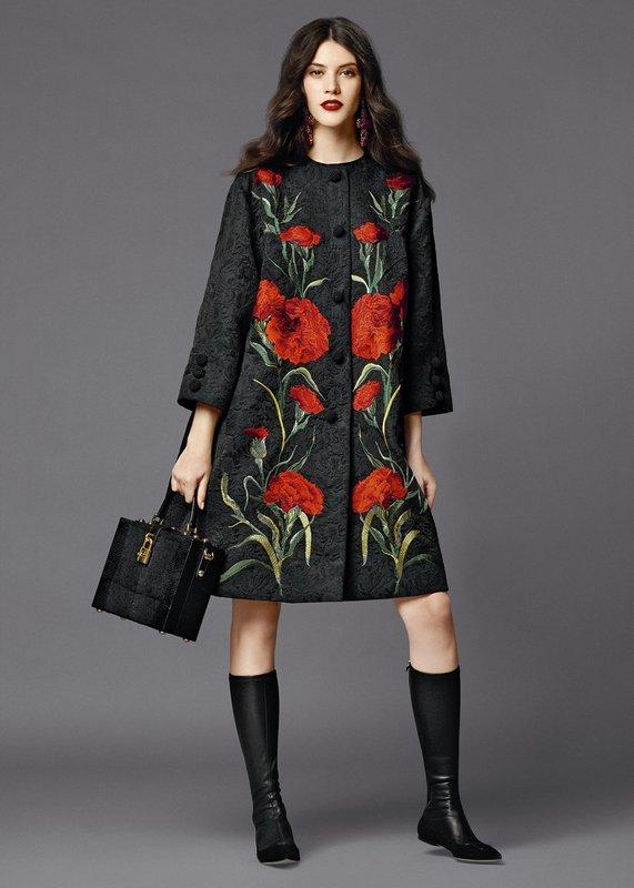 Grijze jas met bloemen patch