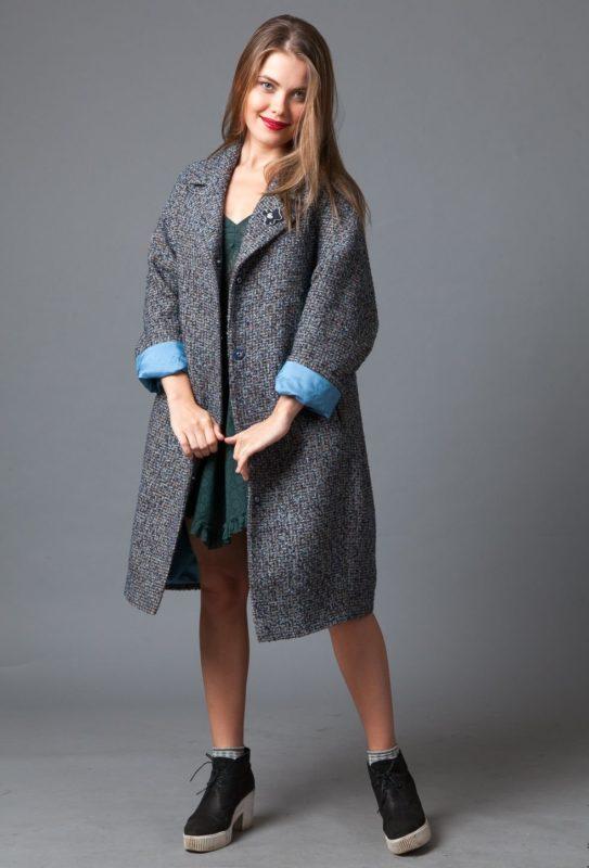 Oversized jas met grijze tweed
