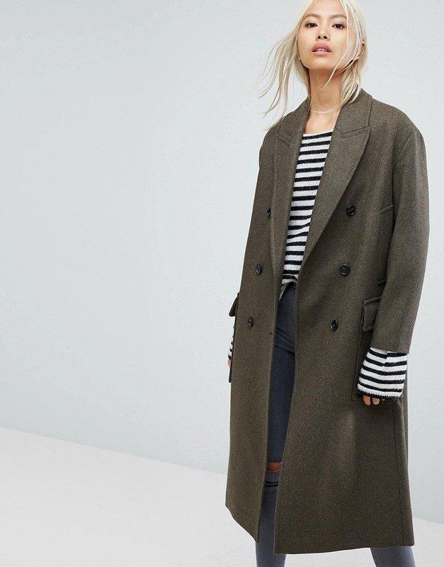 Medium lange oversized jas met dubbele rij knopen