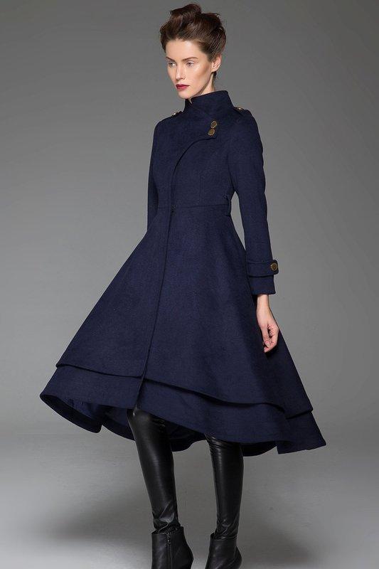 Blauwe jas jurk