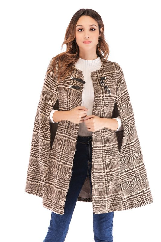Controleer tweed cape jas
