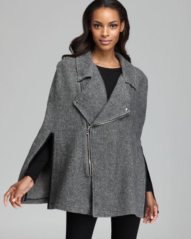 Cape jas met dubbele tweed rits