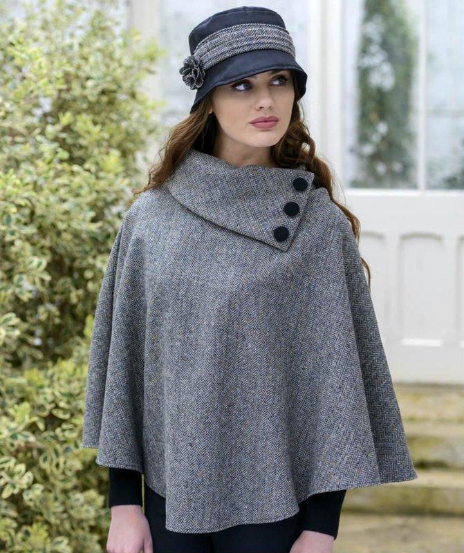 Grijze tweed kraag poncho jas