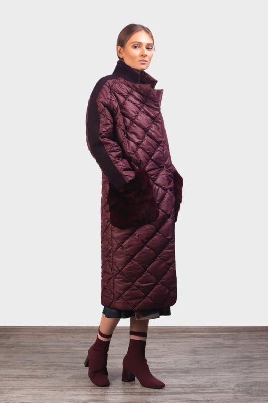 Oversized gewatteerde jas met bontzakken en suède accenten