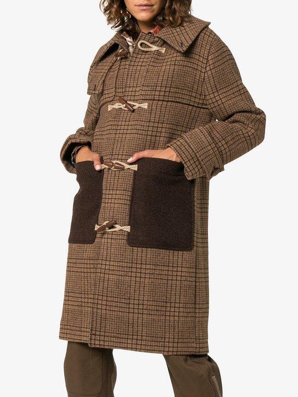 Bruine tweed geruite duffelcoat