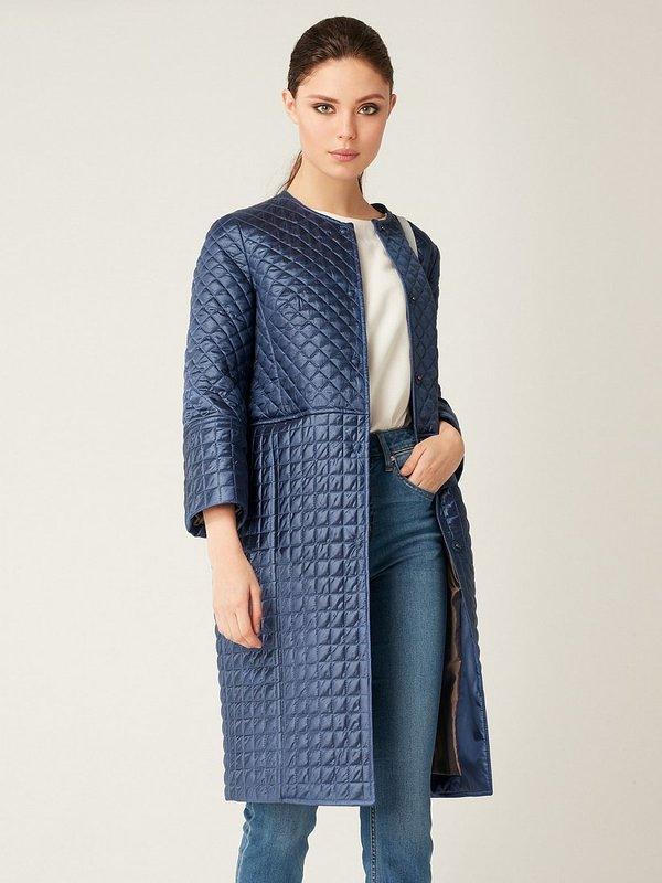 Blauwe gewatteerde jas met 3/4 mouwen