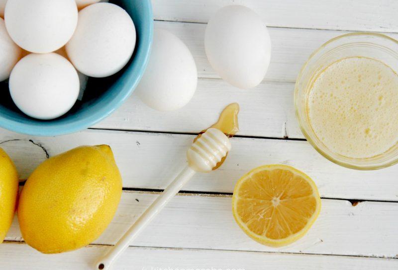 Citroen, honing en eieren voor de bereiding van een reinigingsmasker