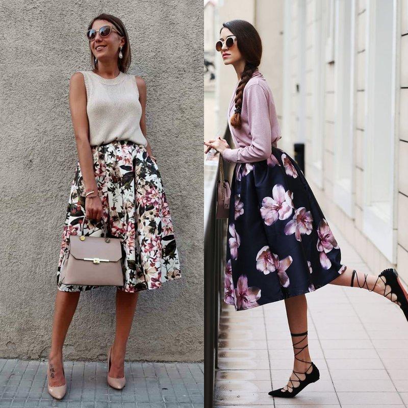 Gėlių pavasariniai sijonai
