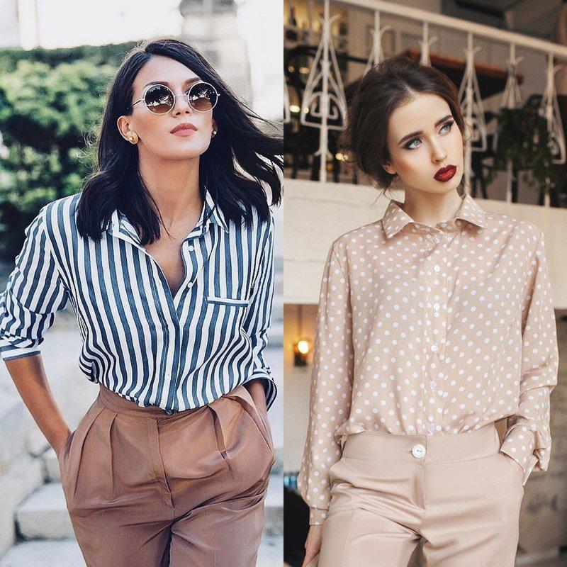 Stilingi moteriški marškiniai: madingi vaizdai