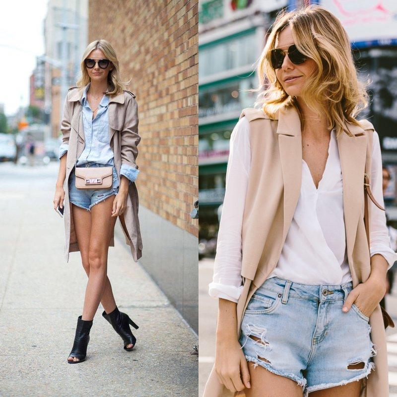 Mergina džinsų šortuose pavasarį