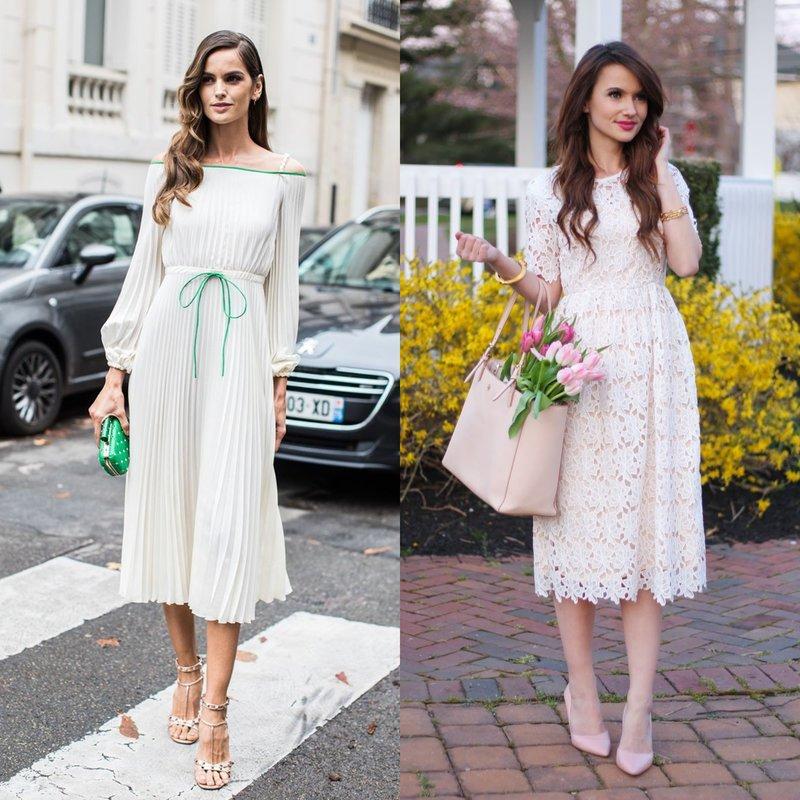 Romantiškas vaizdas baltoje suknelėje