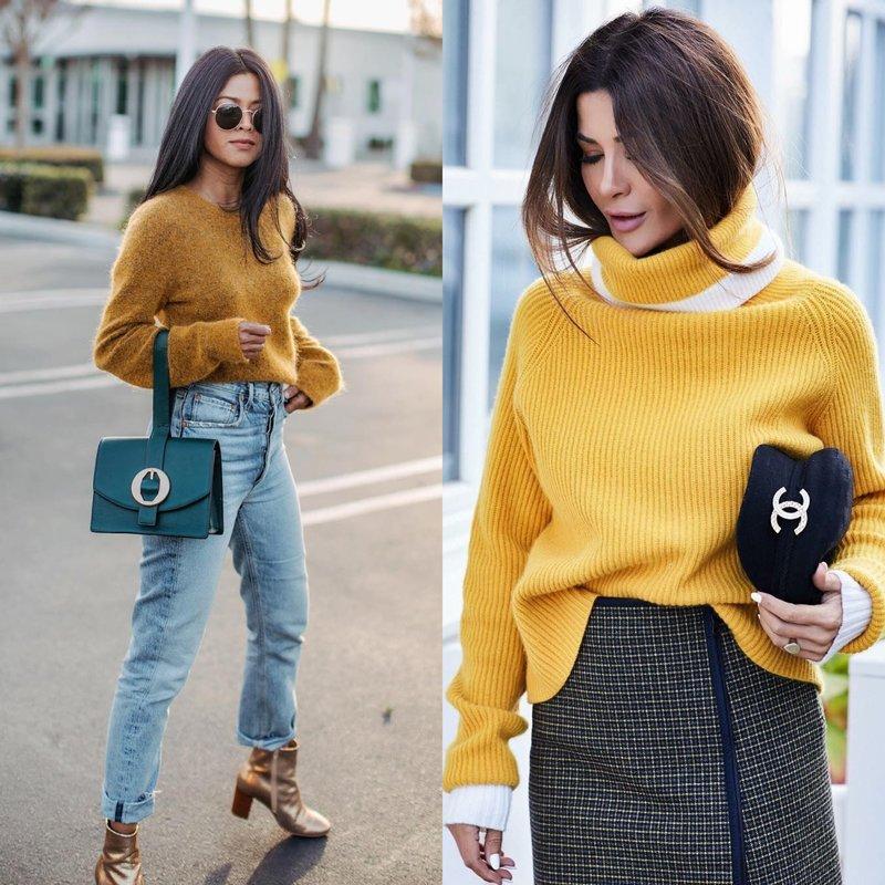 Madingas įvaizdis pavasariui geltoname megztinyje