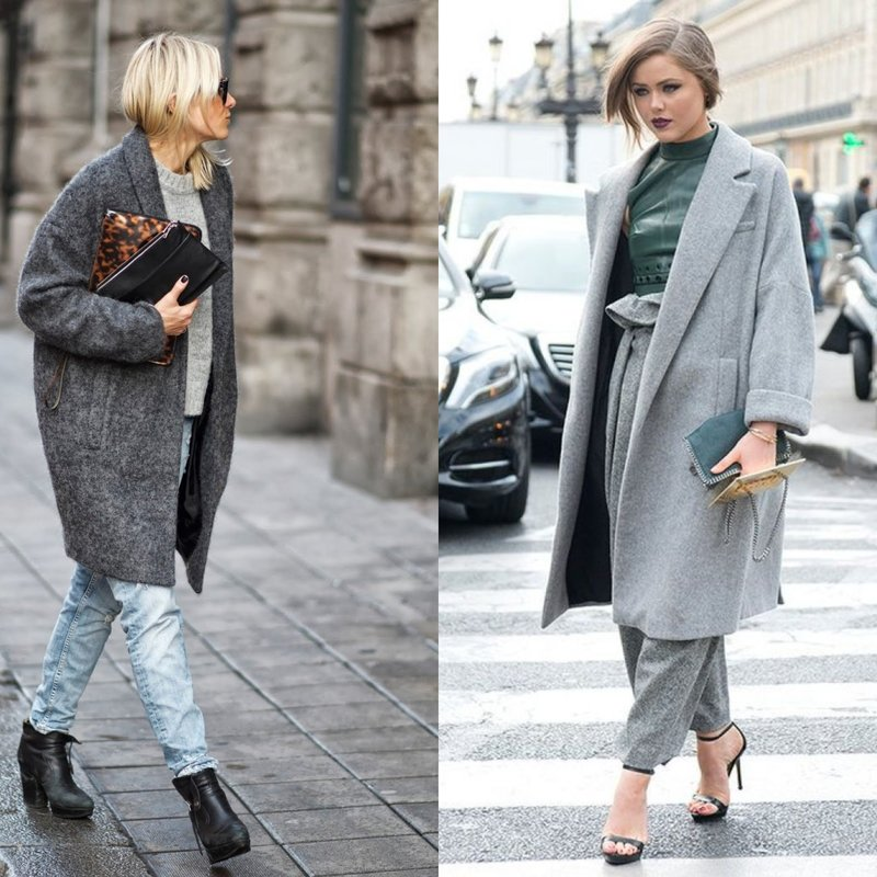 Pilkas per didelis paltas