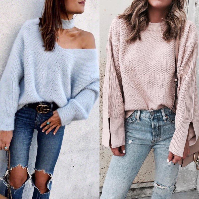 Moteriška išvaizda megztinyje