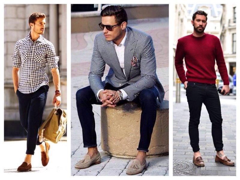 Varianten van mannelijke looks met instappers