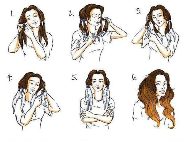 Ombre atlikimo ant ilgų plaukų su ponytail uodegomis schema