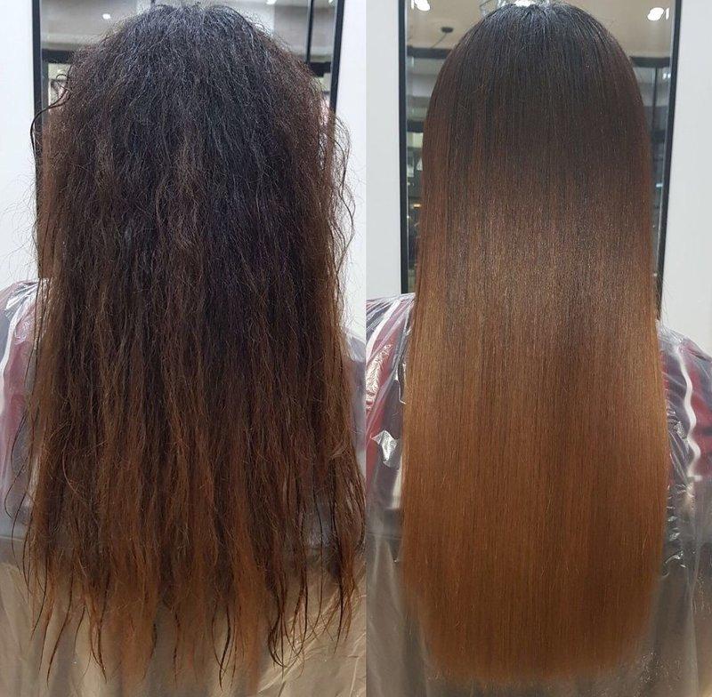 Salon procedure keratine haarherstel
