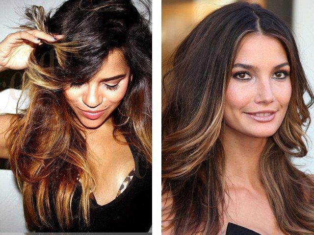 Dažymas ant tamsių ir teisingų plaukų nuotraukos