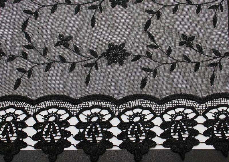 Mode zwart kant en mesh materiaal