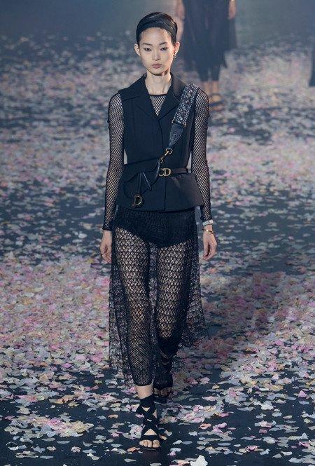 Zwart kant en mesh van Dior
