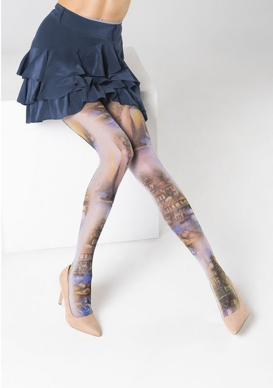 Gekleurde panty met prints