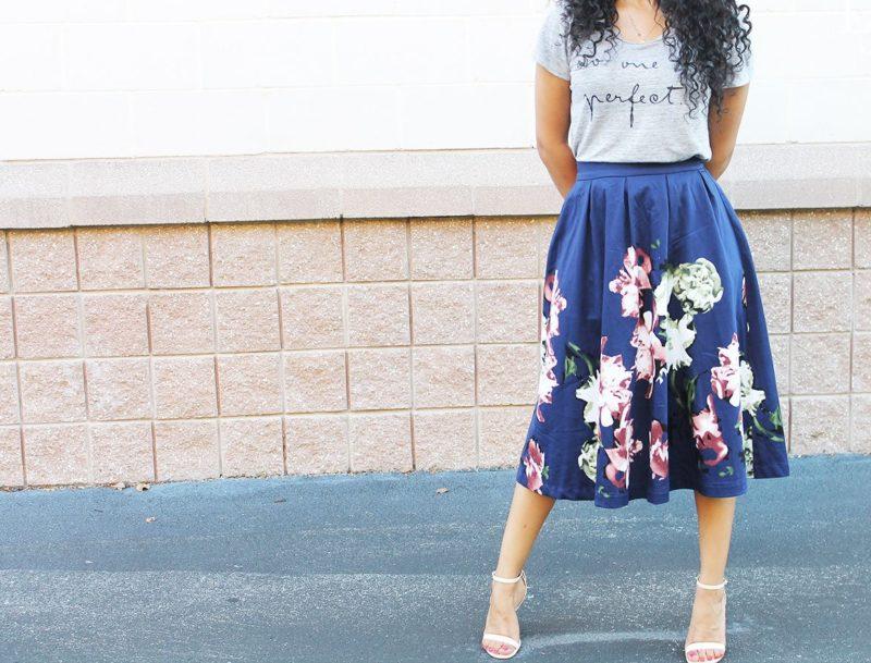 Blauwe mode rok