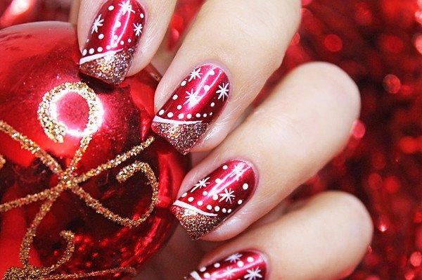 Kerstpatronen op nagels