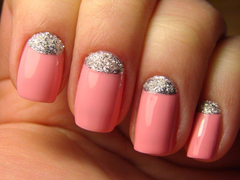 Helder roze zilver glitter gat manicure