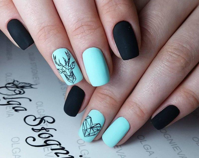 Geometrische herten op nagels