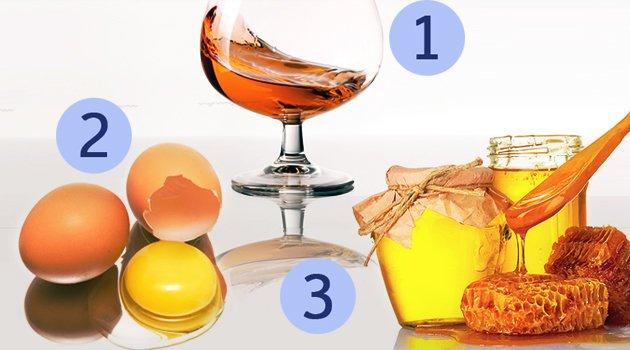 Ei, cognac en honing voor een haarmasker