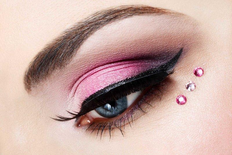 Rožinė katės akis su rhinestones