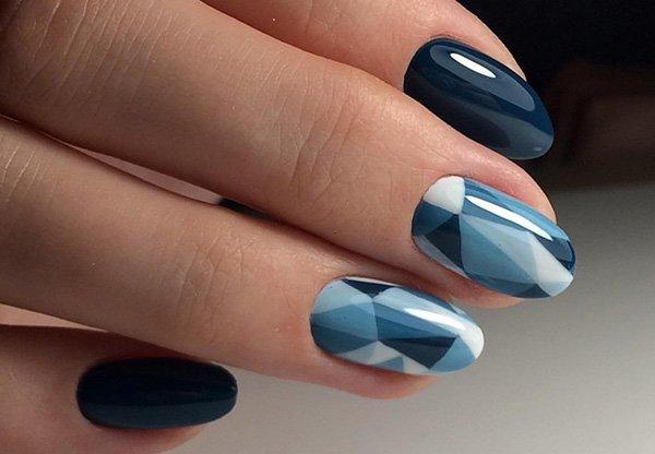Geometrisch verloop in blauwe tinten