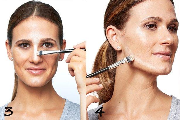 Nosį pašviesink kreminiu paryškintuvu, tada pašviesink apatinį skruostikaulių kontūrą.