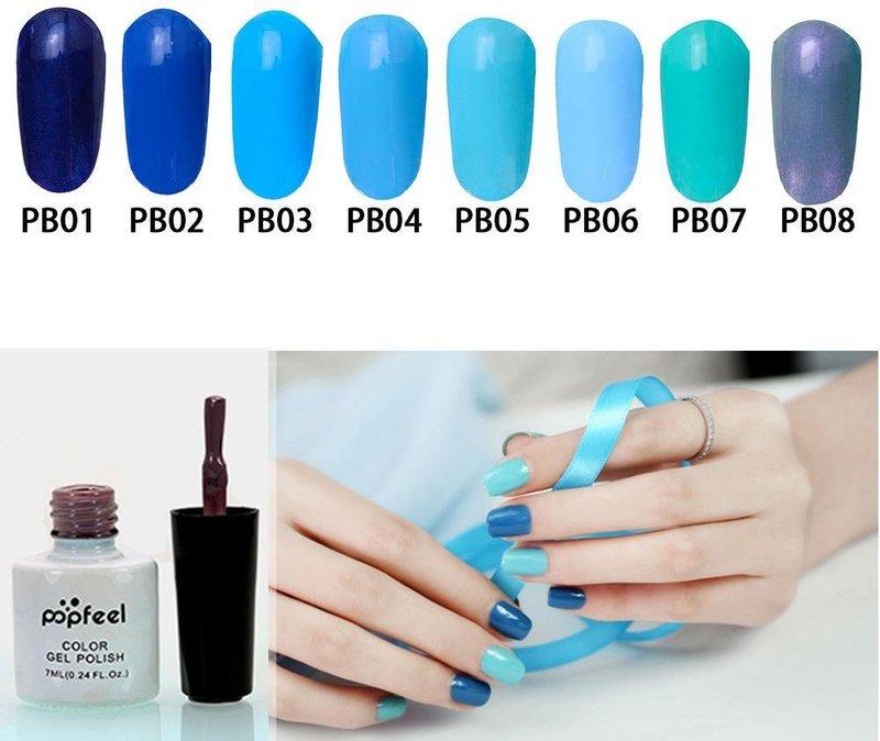 Verschillende opties voor blauwe gellak