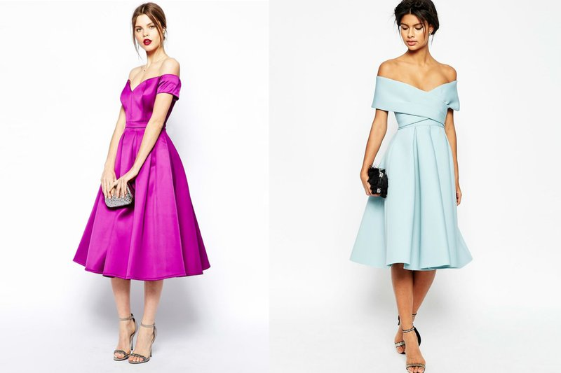 Off-shoulder midi-jurken