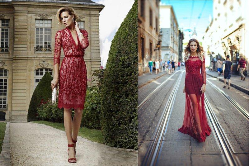 Transparante bordeauxrode jurken