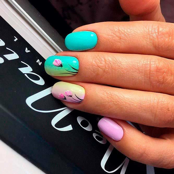 Lente bloemen manicure met schellak