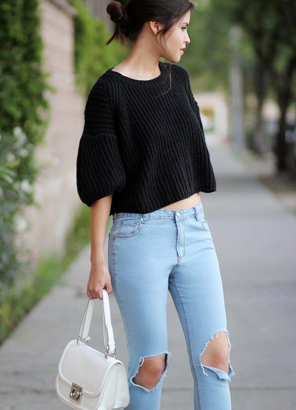 Bijgesneden jeans sweater