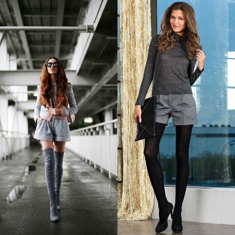 Herfst grijze shorts