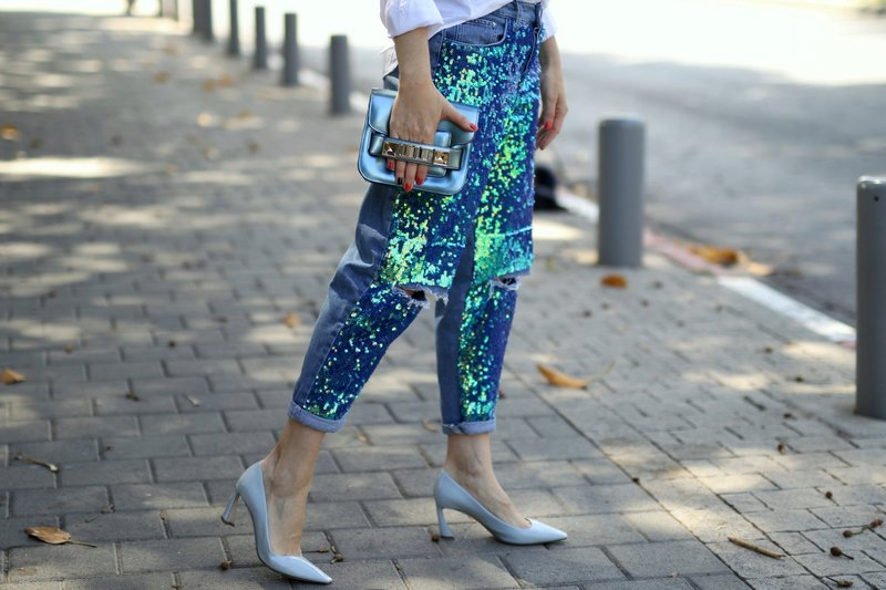 Modellen pailletten jeans
