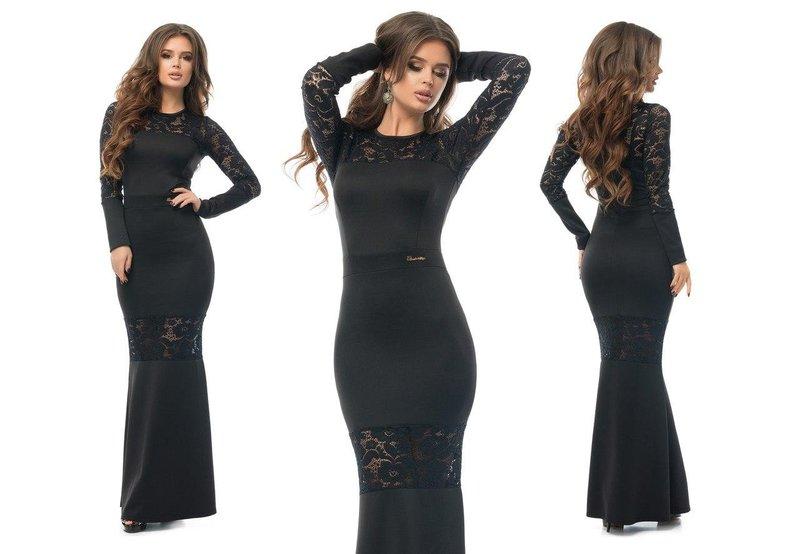 Zwarte jurk met kanten accenten