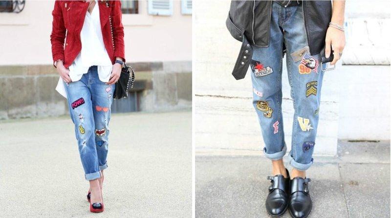 Modieuze jeans met patches