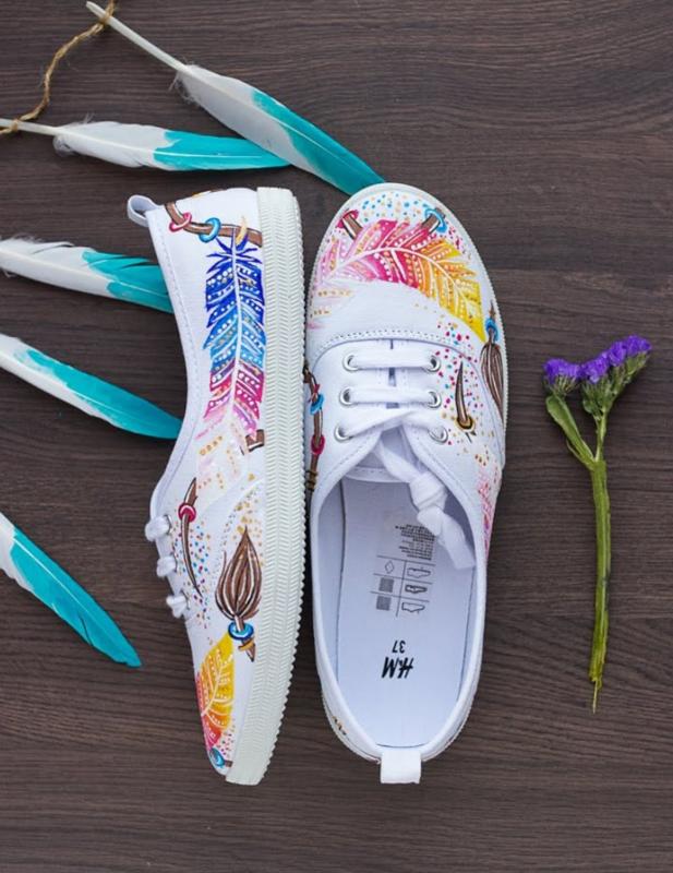 Sneakers schilderen met acrylverf