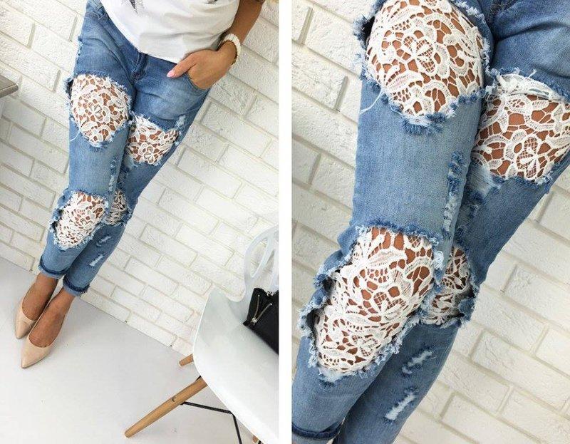 Jeans met kant en guipurekant
