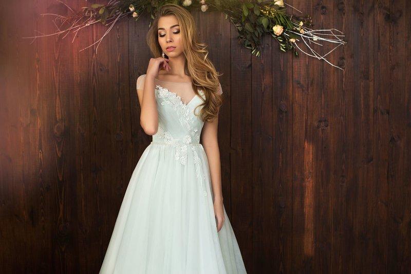 Mint strapless jurk